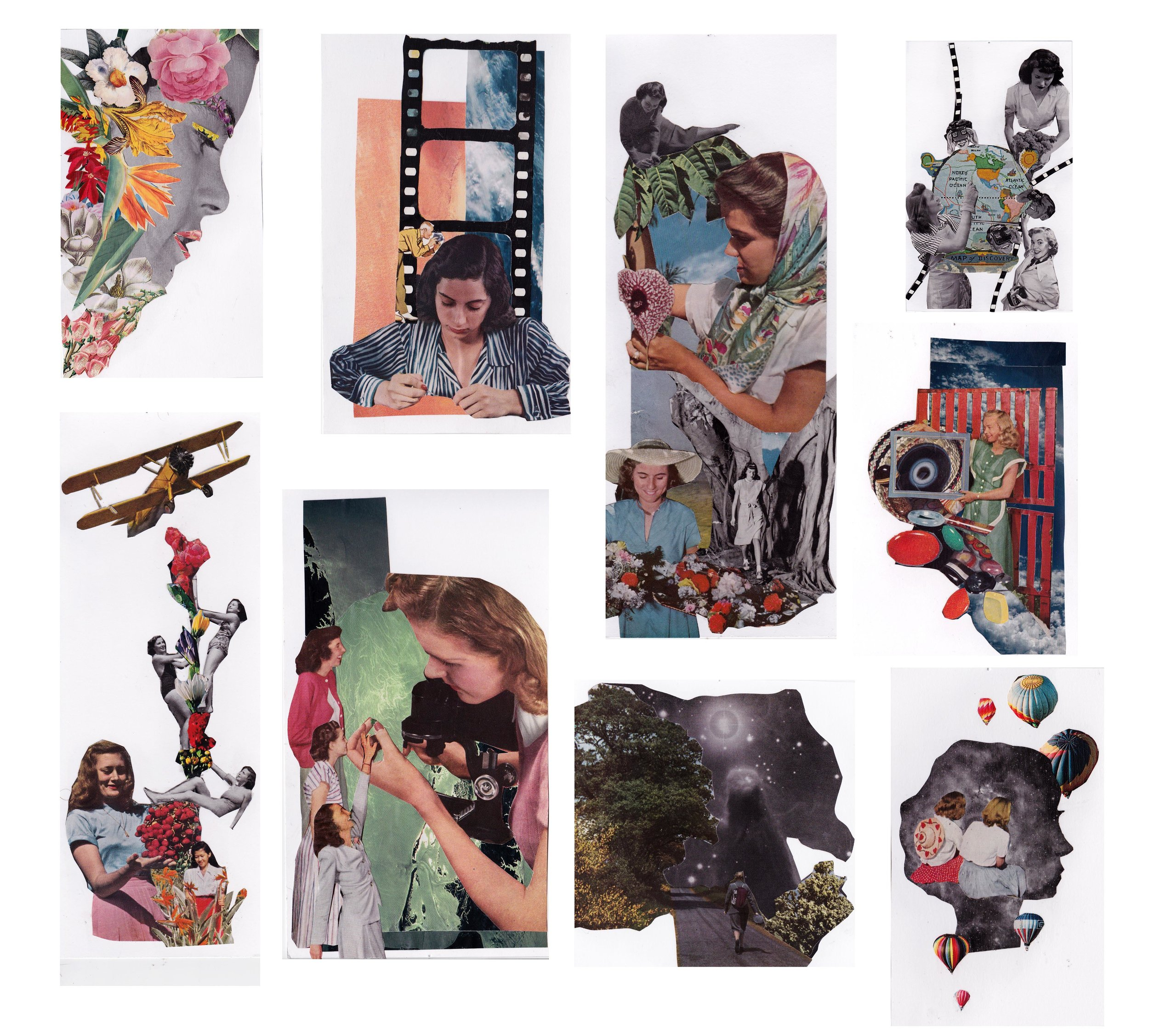 Final   Student appropriated vintage imagery of women into several collages. She made work to celebrate women's accomplishments throughout history.  Collage on Paper