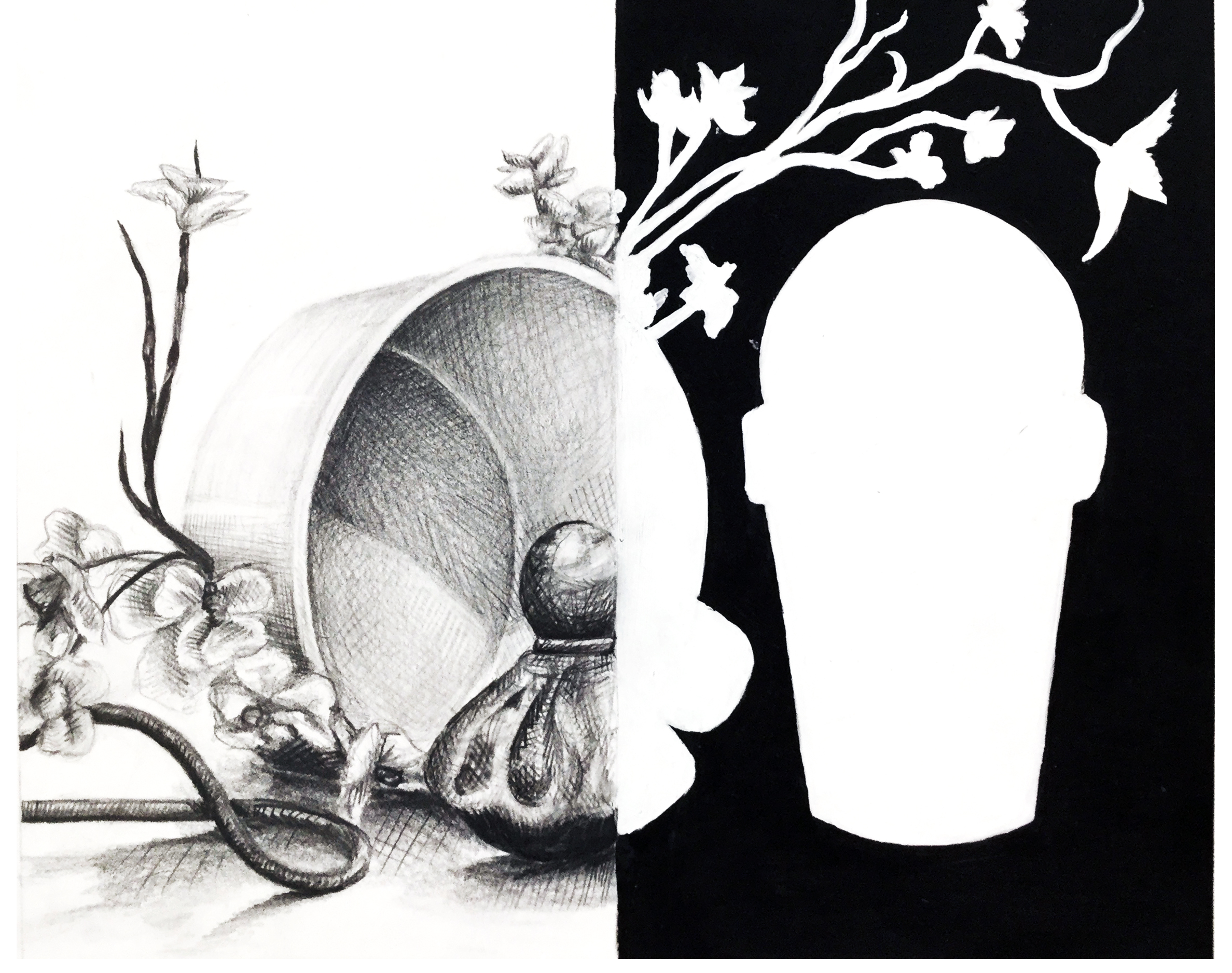 Positive and Negative Space   The goal of this assignment is for students to clearly visualize positive and negative space on a two dimensional plain. Students divide the composition symmetrically and begin with a line drawing of the still life. On on side students will observe positive space by drawing objects with attention to value on a white background. The remaining side of the drawing will filter out the positive and negative space of the still life, using black as background and white as shape.  Graphite and Acrylic on Paper