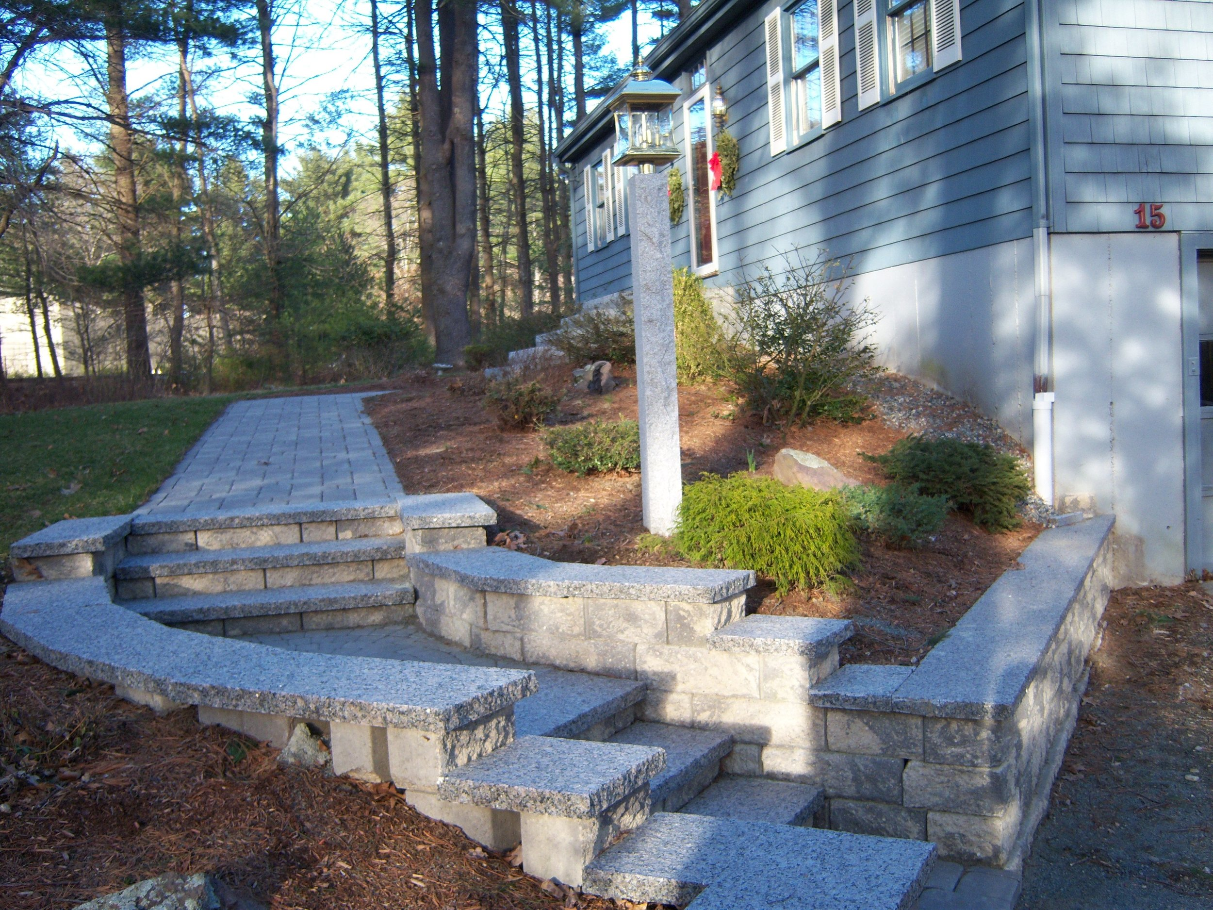 Professional landscape design of a walkway in Chestnut Hill