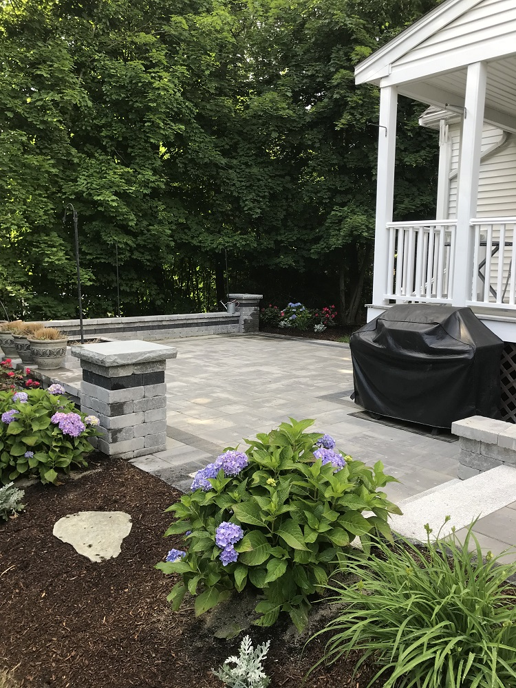 Patio installation and walkway in Weston, MA