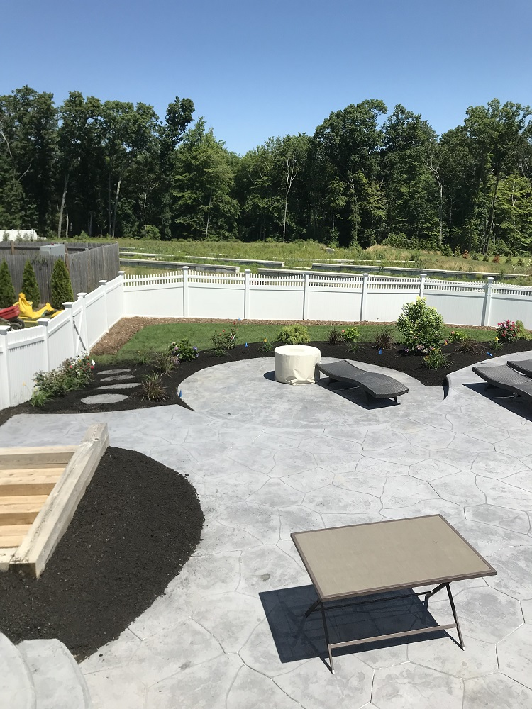 Stunning landscaping with patio installation in Sharon, Massachusetts