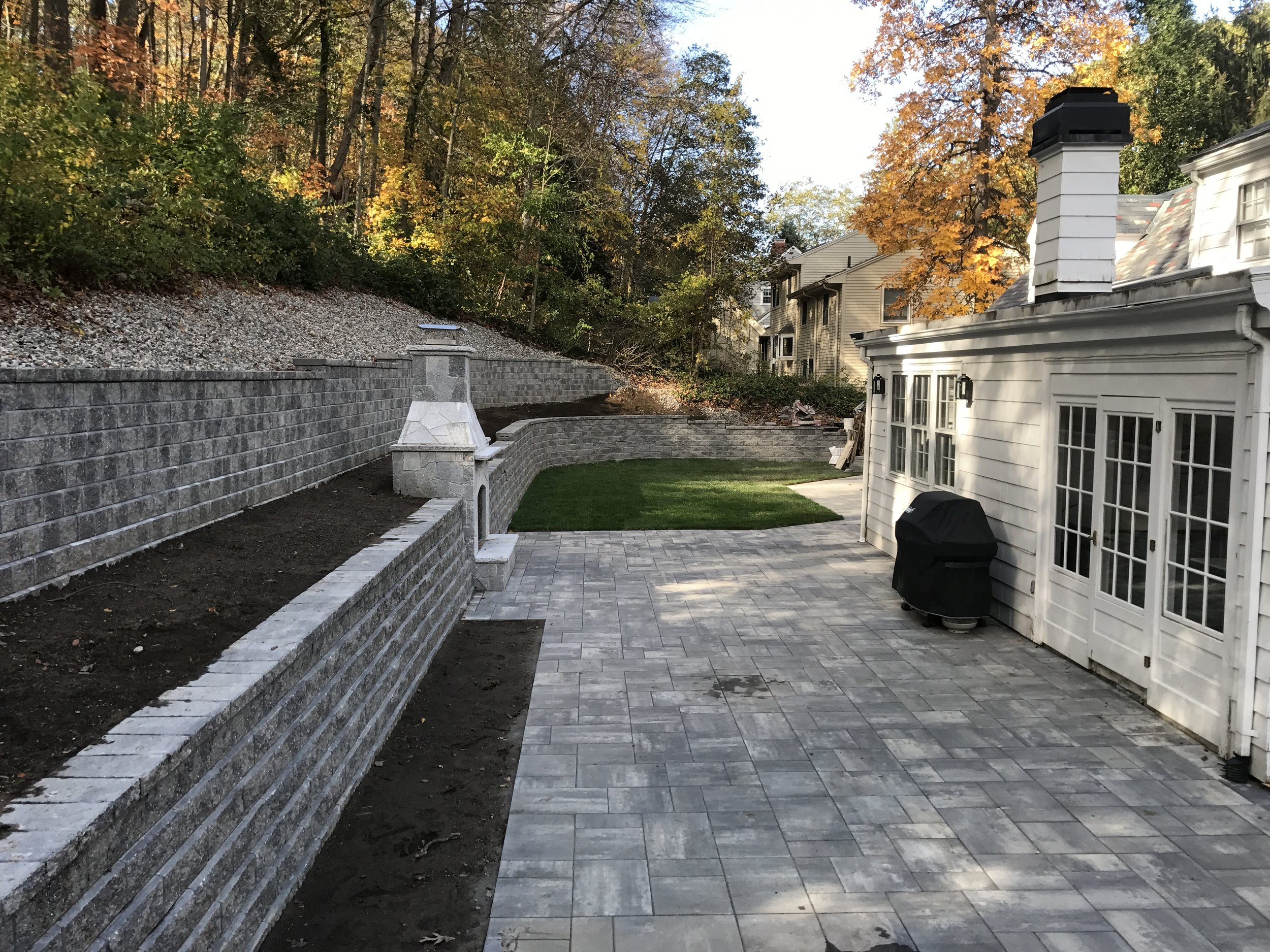 Retaining wall and patio installation in Sharon MA