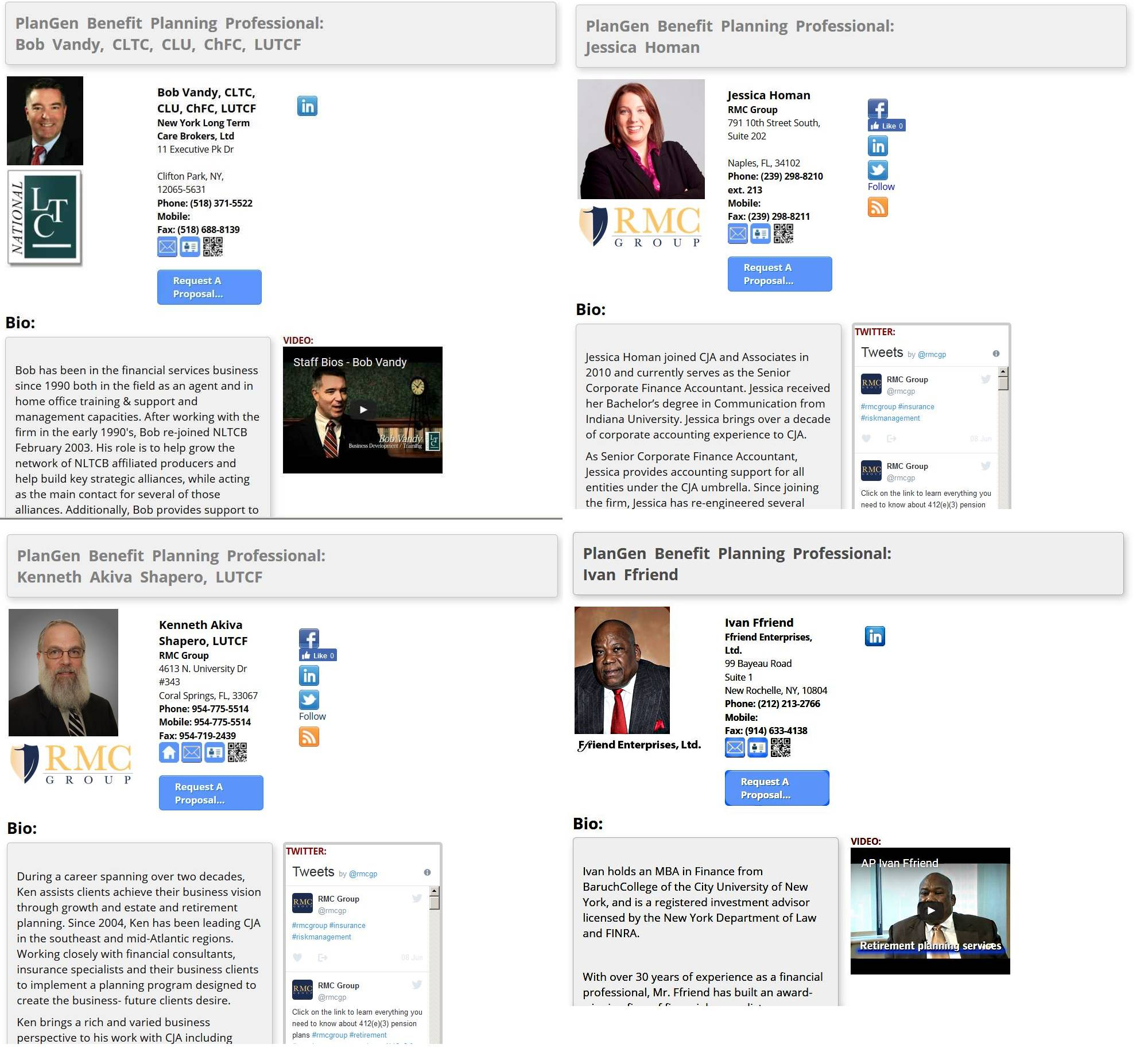 ProfessionalBio-Pages - SEO-Optimized Contact InformationElectronic Request-For-Proposals Directly Into PlanGenSocial Media Feeds and LinkagesResume - CV Biography SectionsVideo LinksResource LinksUser-Editable