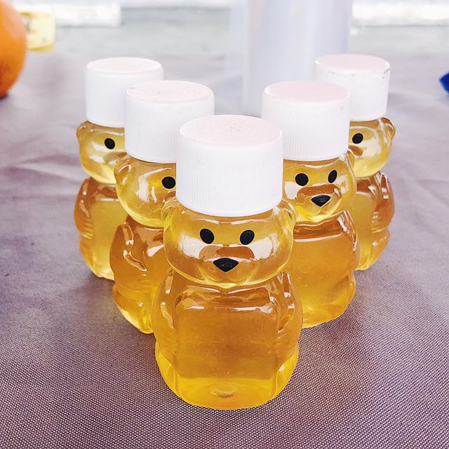 These tiny honey bears were lined up like this at the market and it honestly made me so happy.