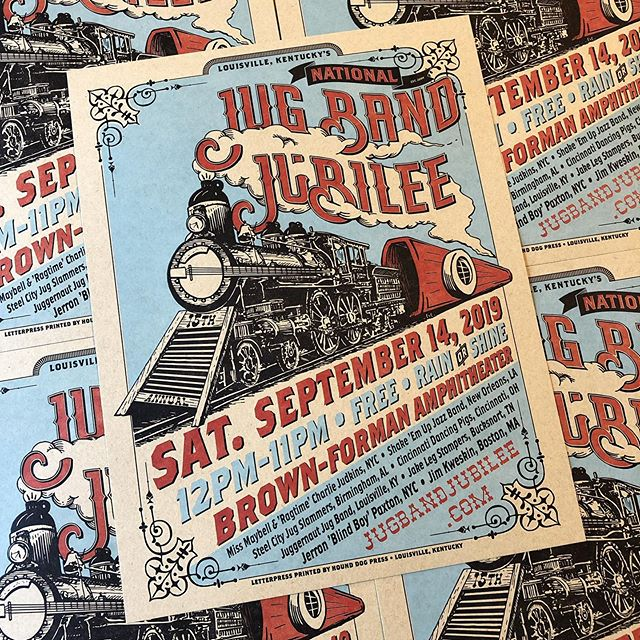 Break out your kazoos, it's Jug Band Jubilee time!  Can't say enough good things about this event and the folks that put it on. Come this Saturday and listen to music born right here in Louisville on the banks of the Ohio!! @jugbandjubilee  #letterpress #illustration #locomotive #banjo #washboard #jug #jugband #louisville #kentucky