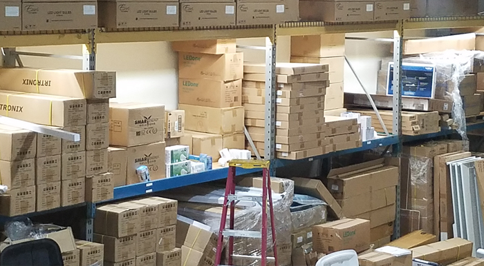 Easily see all your stored products in your warehouse shelving with under-shelf lighting.