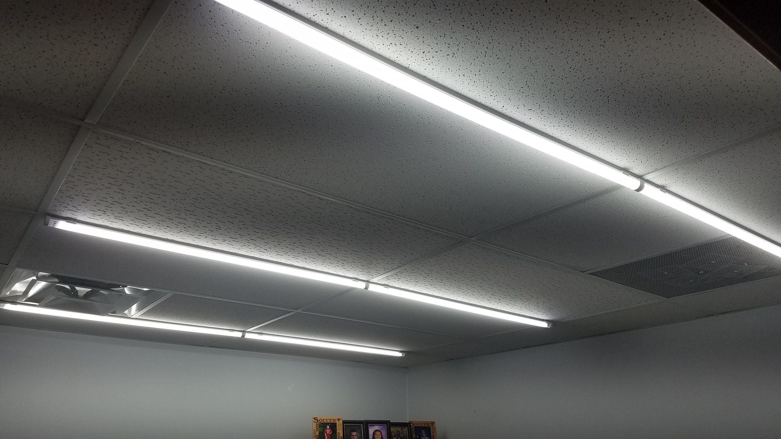 LED Slimline Linear Light Fixtures in a drop ceiling.