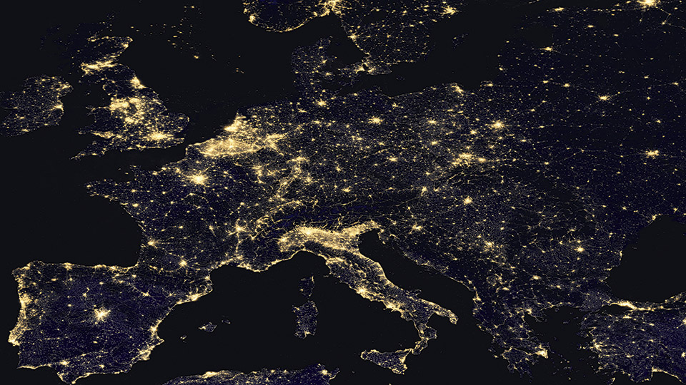 Figure 2:    View of Europe at night, composite image from Suomi NPP satellite data from 2012. Resolution approx. 750m per pixel (Credits: NASA)