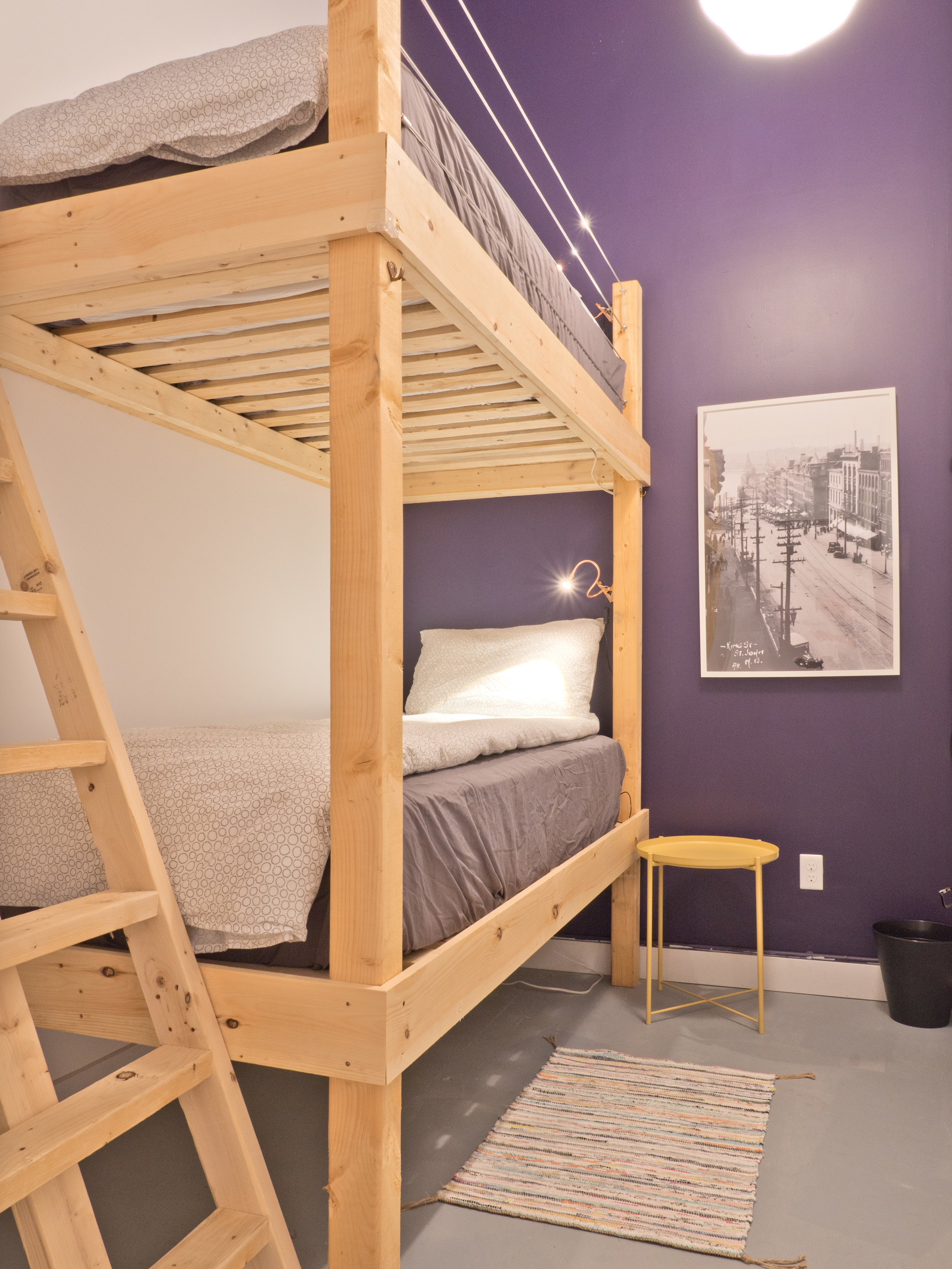 Book your stay here in a private bunk room is the perfect way to split a space with your travelling companion, at BunkHaus Boutique Hostel, Saint John New Brunswick