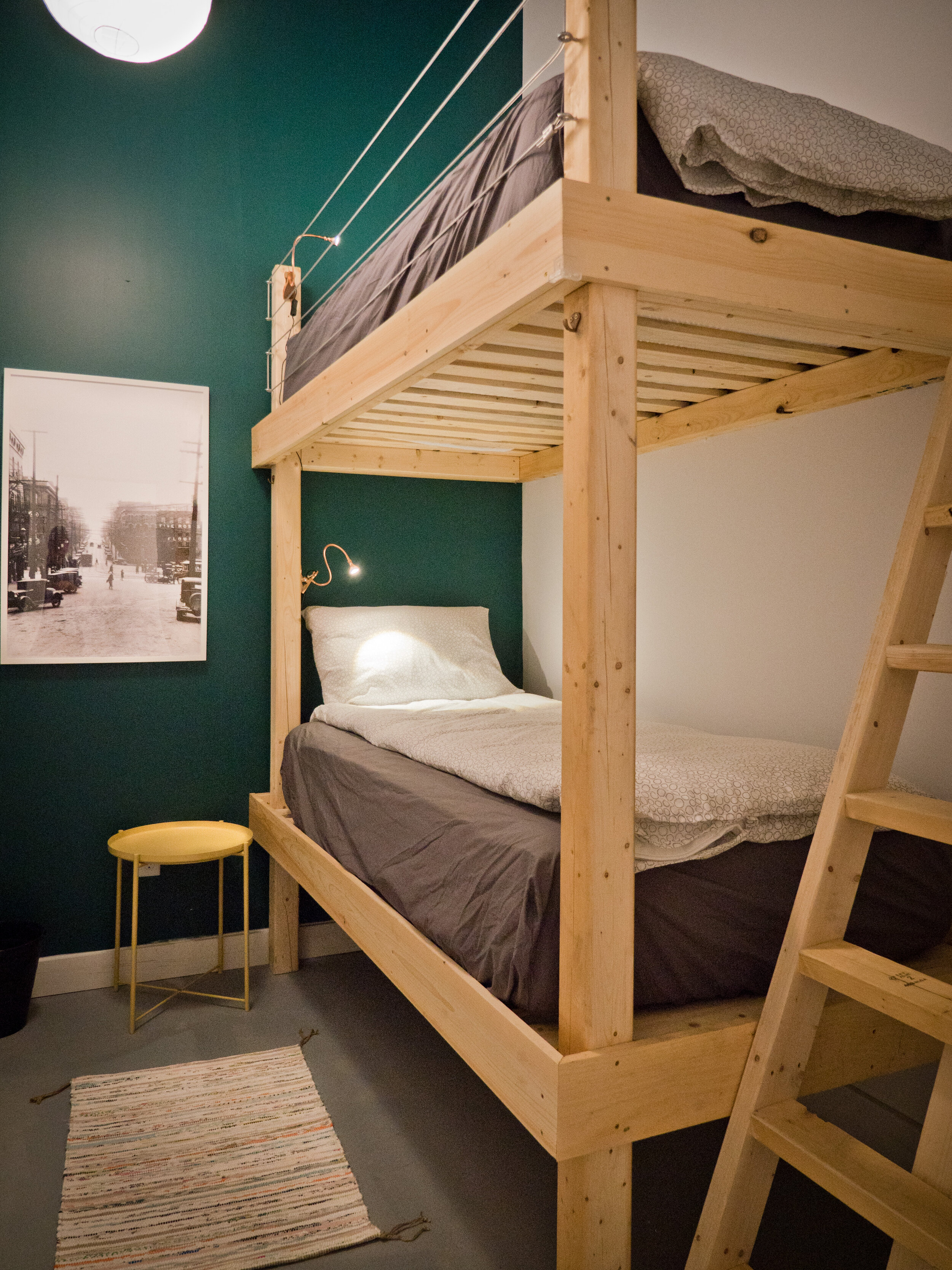 Private Bunk Room - Share with a friend or keep to yourself. Each private bunk room booking equates to a room all to yourself.Includes continental breakfast, morning coffee/tea, kitchen use, fresh linens/towels, and a good nights sleep. Please note that our clean bathrooms are shared.CLICK HERE for rates & availability.