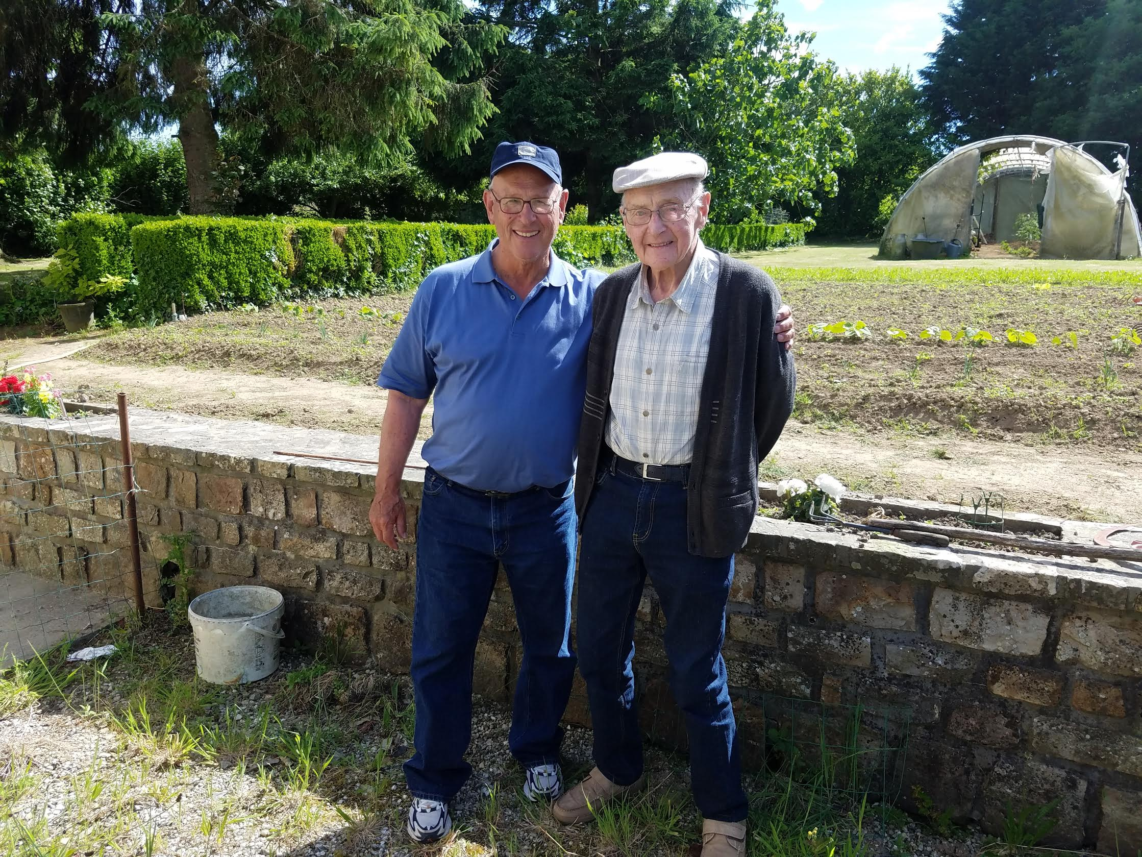 Lin Warfel and a French friend in Normandie