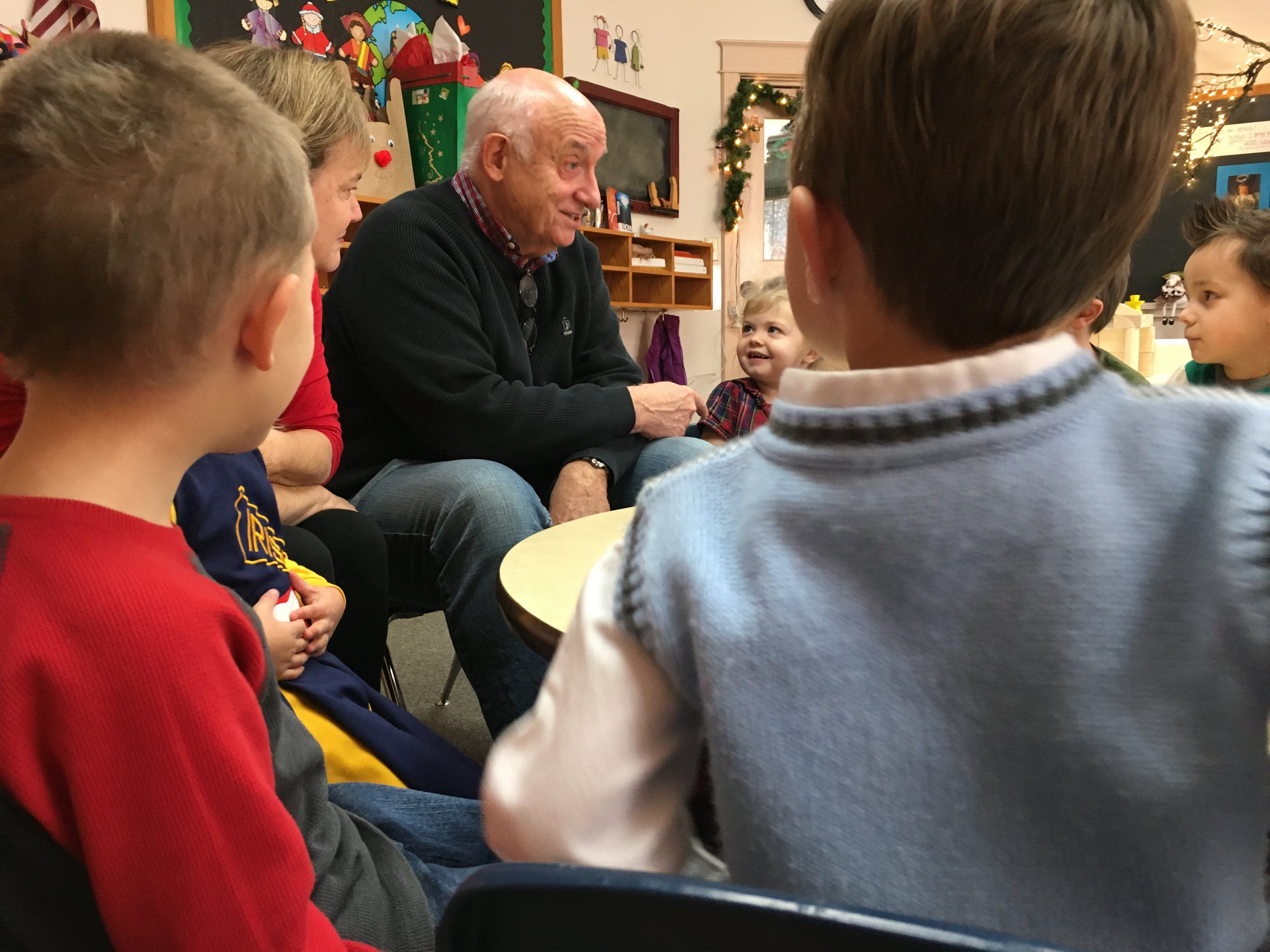 Dick Foth with preschool friends