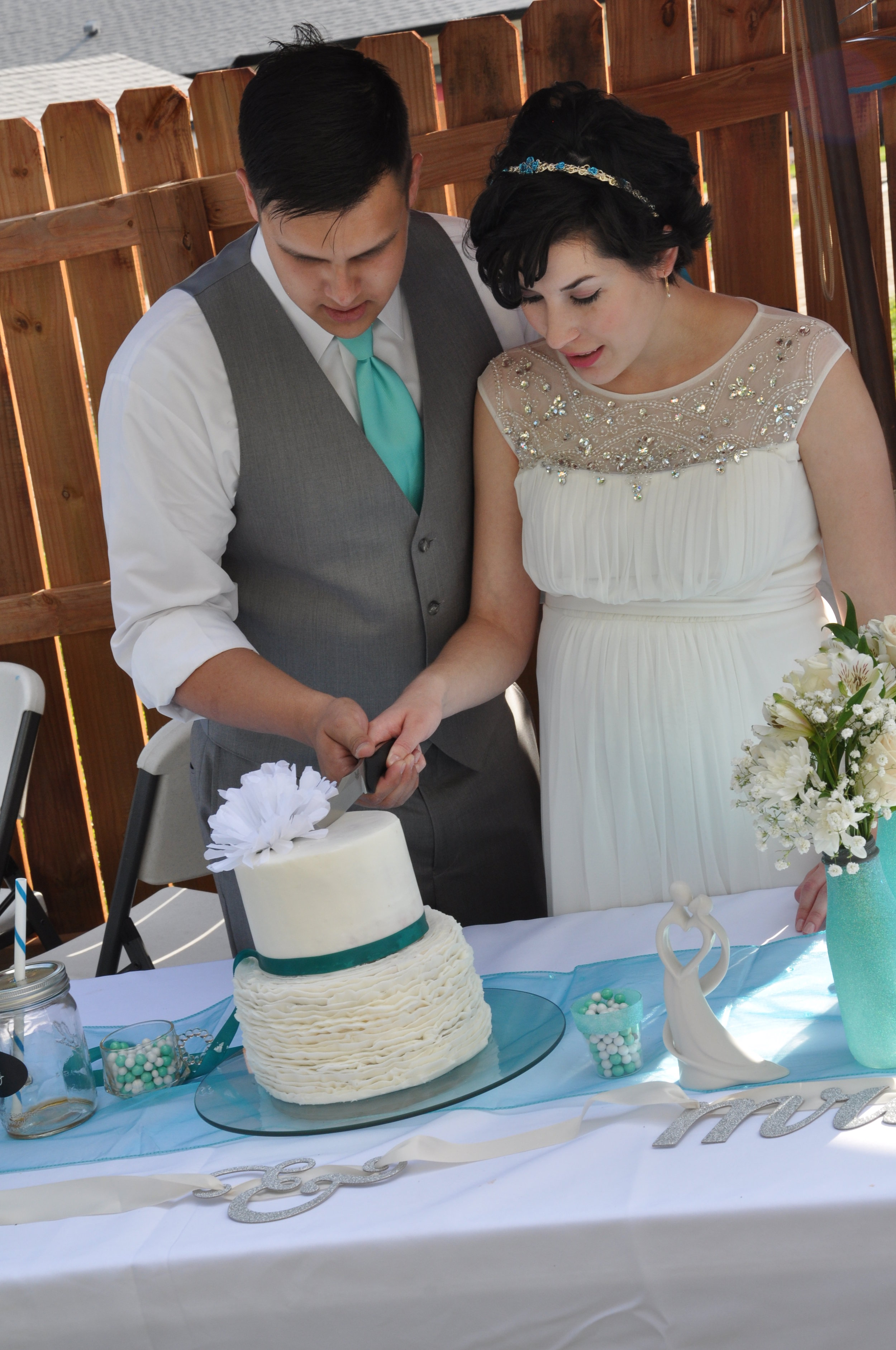 We cut our cake with one of Jeremy's favorite knives.