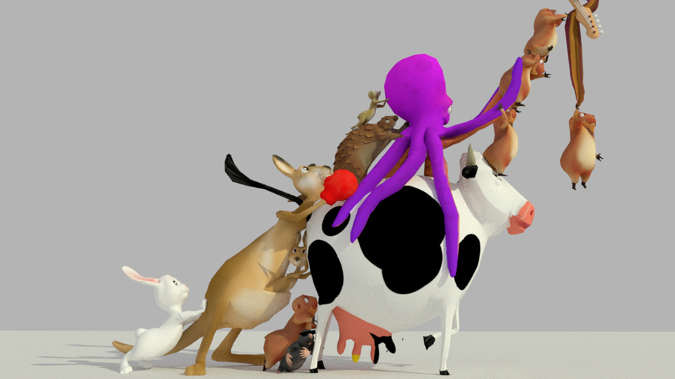 Lambchild Superstar: Making Music in the Menagerie of the Holy Cow  is replete with magical music-making contraptions, friendly animals, robots, and audience members as they work together to create an original song.