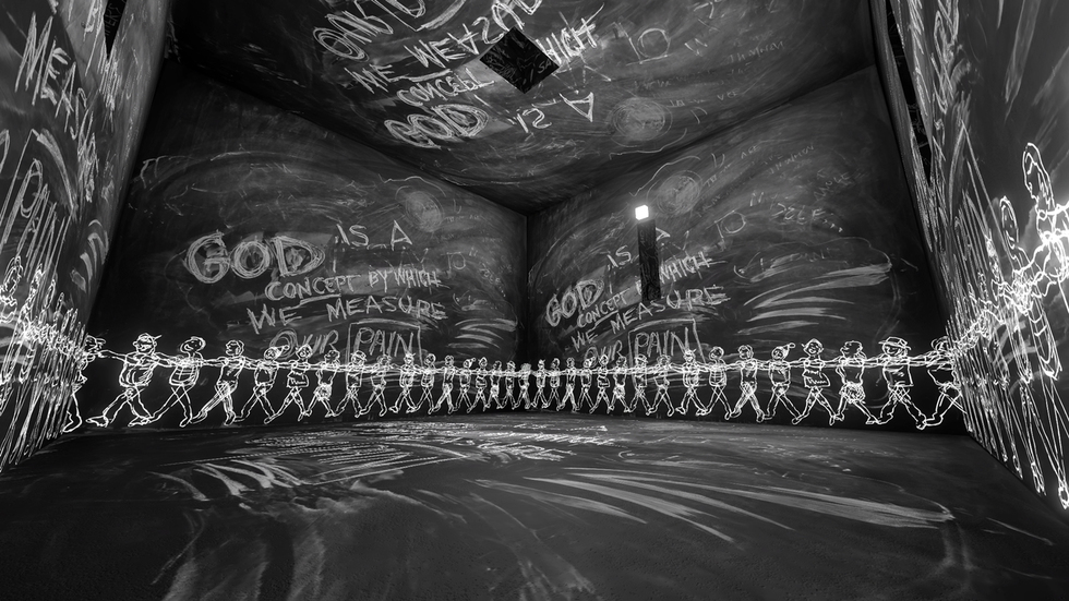 The Chalkroom  combines the agency viewers have in a real-world installation with the fantastical elements of a virtual world.