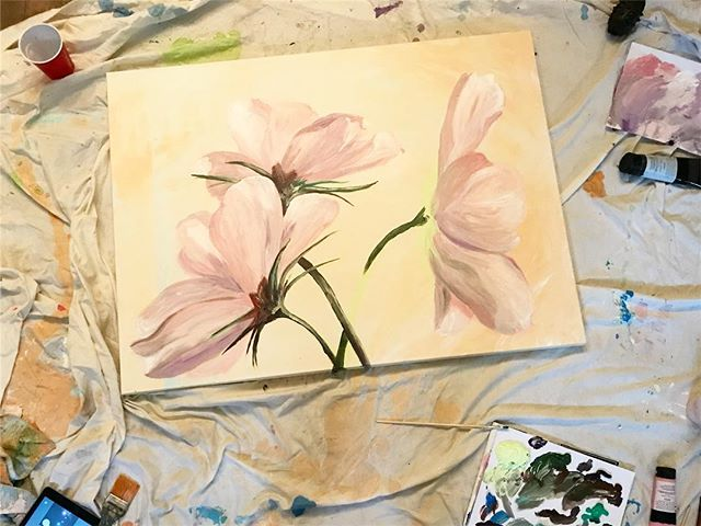 When it's this #cold outside, the best thing to do is #paint some #flowers 🌸 . . . #art #artist #artistsoninstagram #flower #flowerstagram #painting #pink #rose #studio #artstudio #commission #unfinished