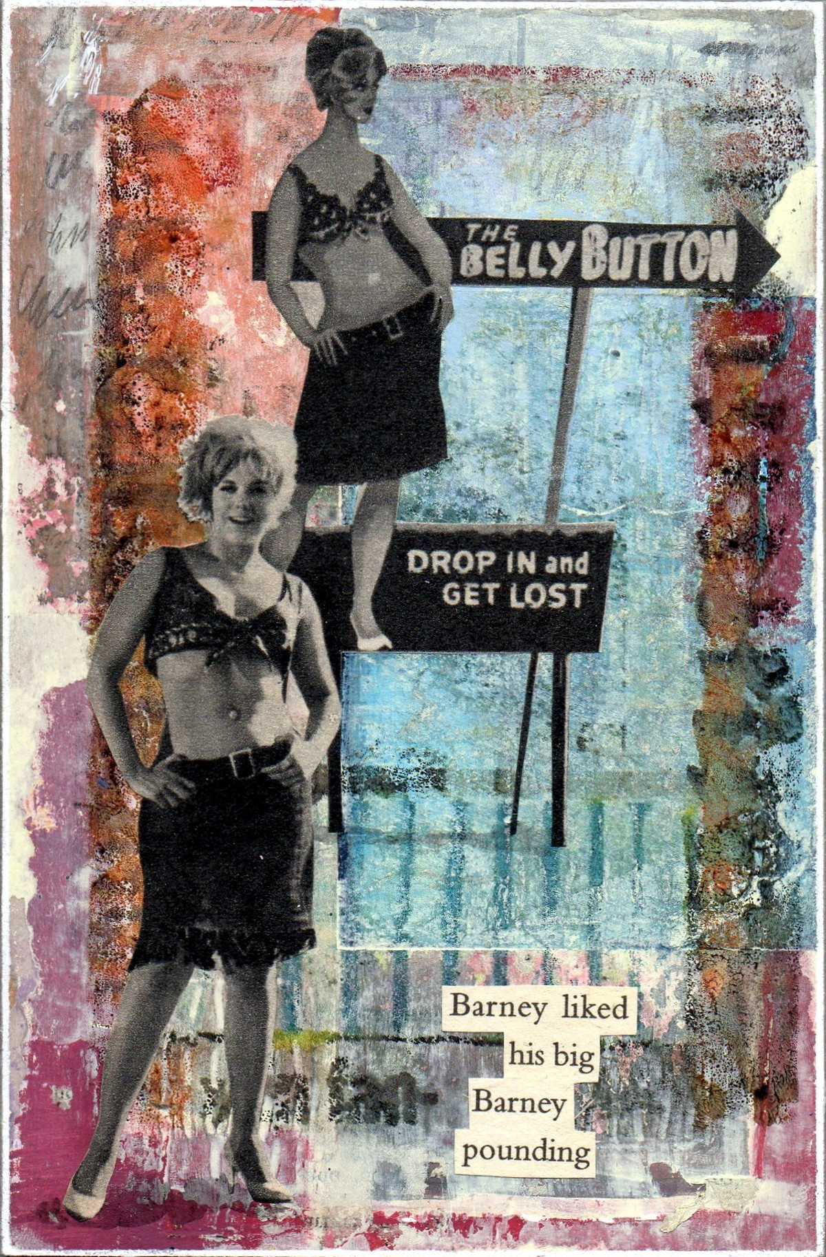 'Belly Button Barney'  Collage, Acrylic and Image Transfer  10 x 15cms