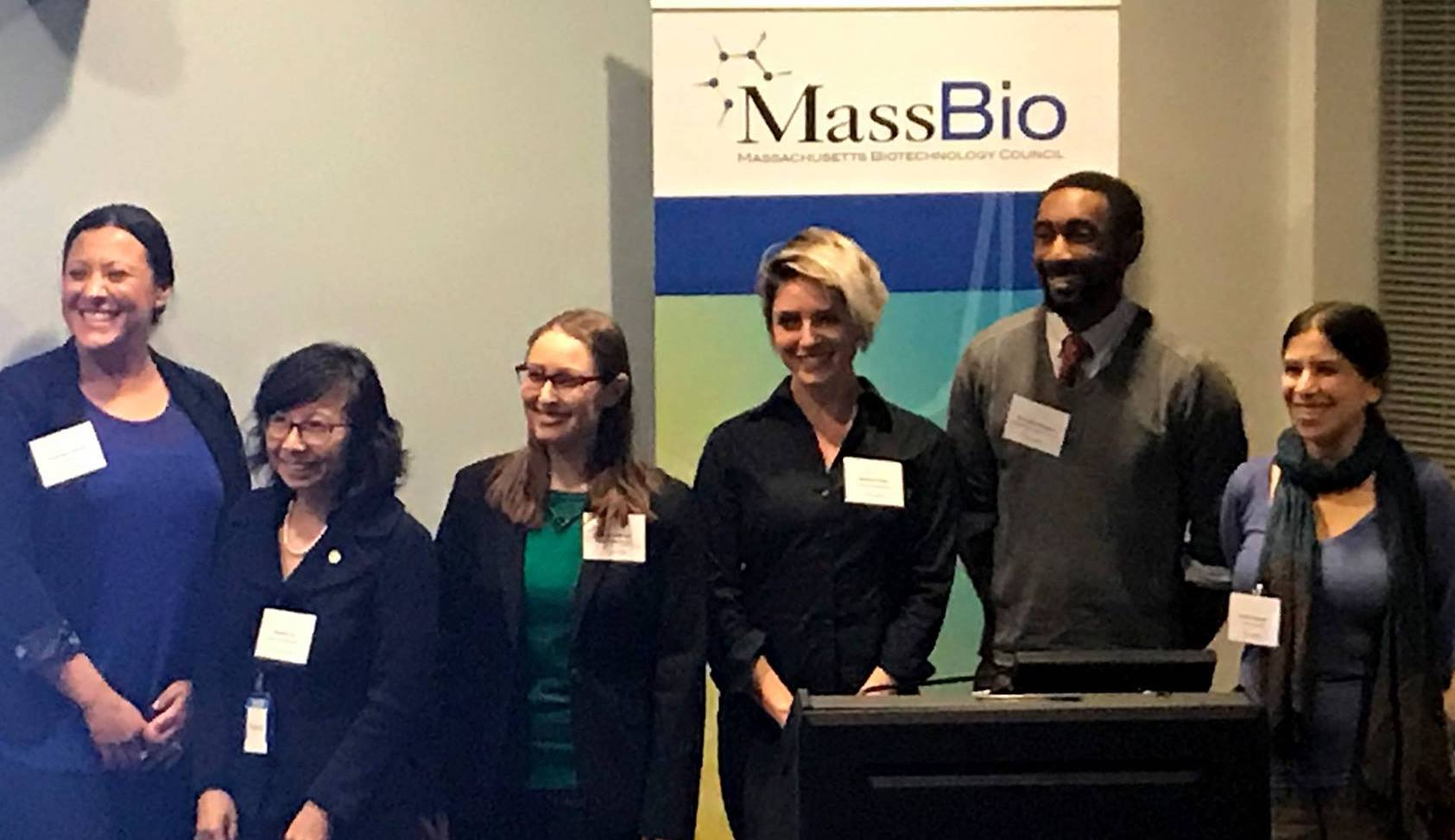 From left: Amanda LaFleur (IAPMD), Hanlan Liu Ph.D. (NEDMDG), Laura B. Kleiman Ph.D. (Cures within Reach), Jessica Polka (FoR), Brandon Morgan (The LEAH Project), Sarah Dykstra (Boston Postdoctoral Association)