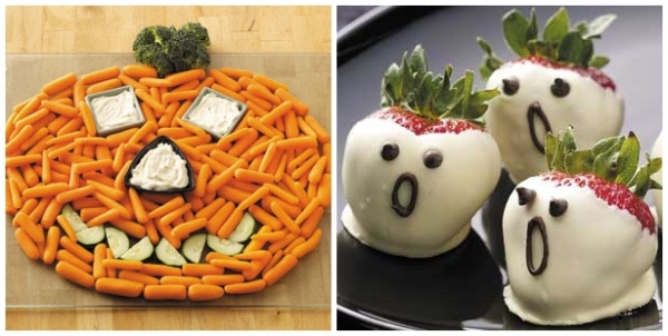 Carr-o-lantern(Picture on the Right): baby carrots, sliced zucchini and broccoli. You can use hummus or greek: yogurt for dipping.  Strawberry ghost: strawberries covered in greek yogurt. Melt some of Lilly's sugar free chocolate chips and use to make the face.