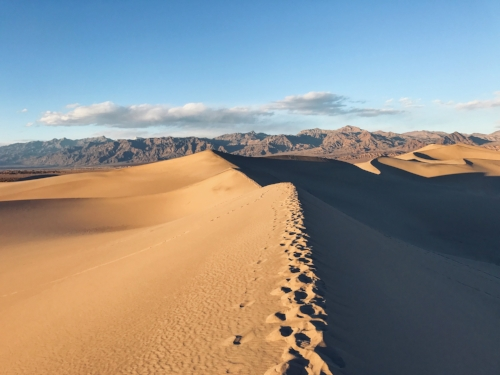 The sunlight casting shadows on the Mesquite Flat Sand Dunes