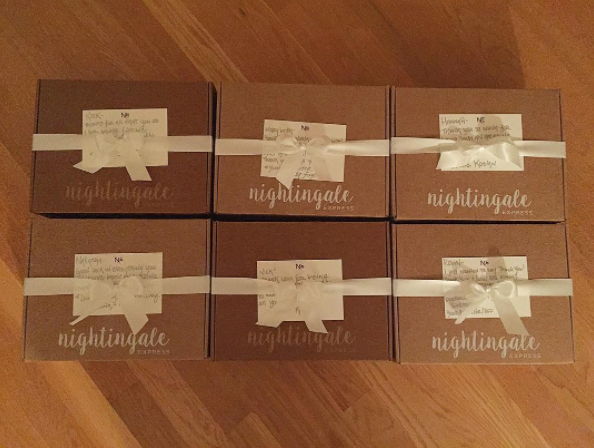 Packaged gift boxes ready to be shipped