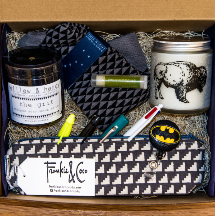 The products featured in The Walt gift box, designed with male nurses in mind