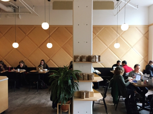 Patrons hard at work at Broadcast Coffee in NE Seattle