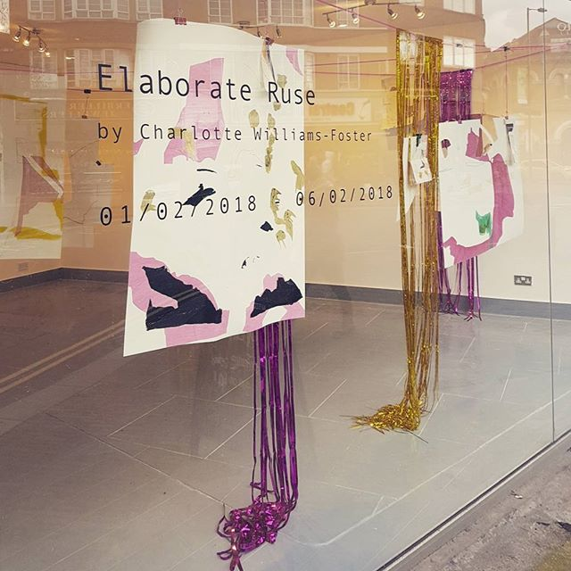 Wonderful densely layered works of Charlotte Williams-Foster at #asidebsidegallery, unfurling drawings with cut outs that frame and shape the gallery space and the street beyond.  #drawing #elaborateruse #cutouts #ribbons #unfurling #layering @charlottewilliamsfoster @asidebsidegallery