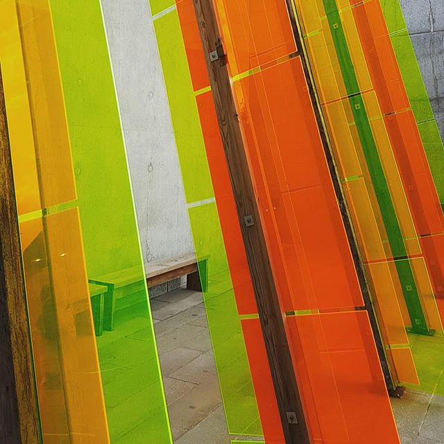 Wonderful installation at Margate Turner Gallery by Jyll Bradley, 'Dutch Light' which refines the lean-to greenhouses of the same name down to a series of perspex sheets which refract and distill the sun in shifting patterns and seem to glow from within.  #drawingwithlight #sculpture #perspex  #turnercontemporary #margate #jyllbradley #turnergallerymargate @turnercontemporary