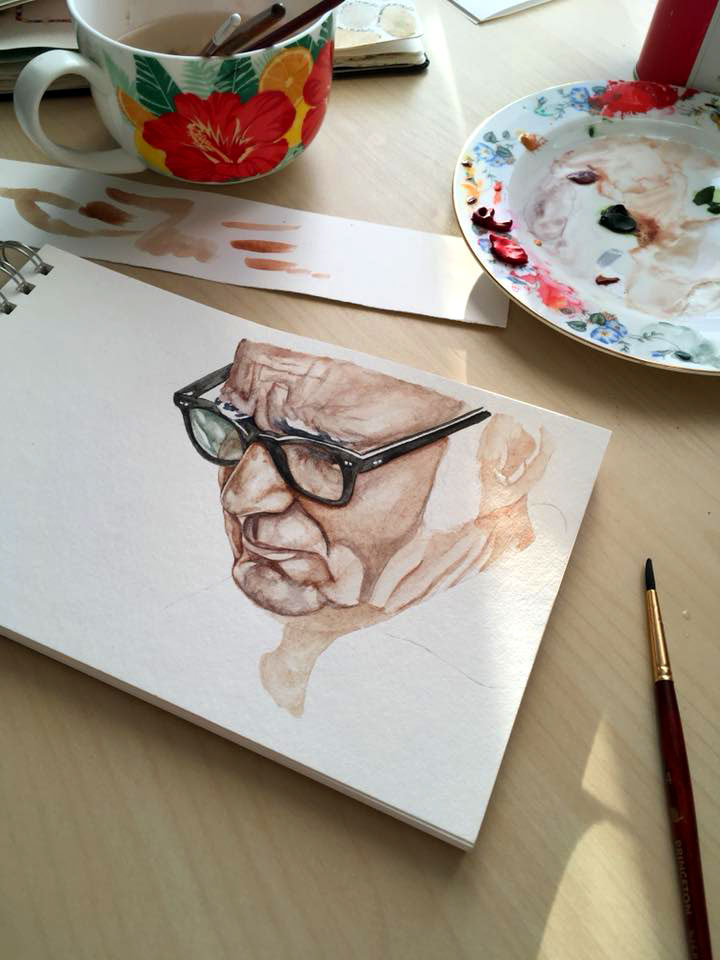 Portrait du pianiste Ludovico Einaudi en cours. Portrait of the pianist Ludovico Einaudi in progress.