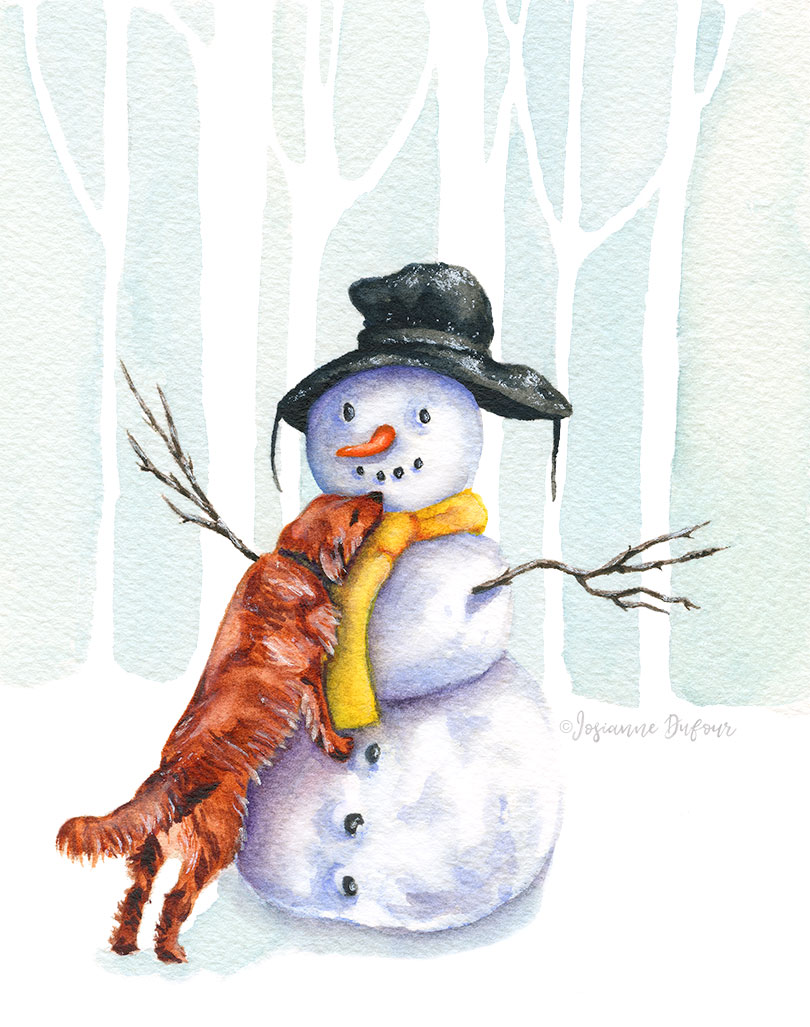 Snowman with dog
