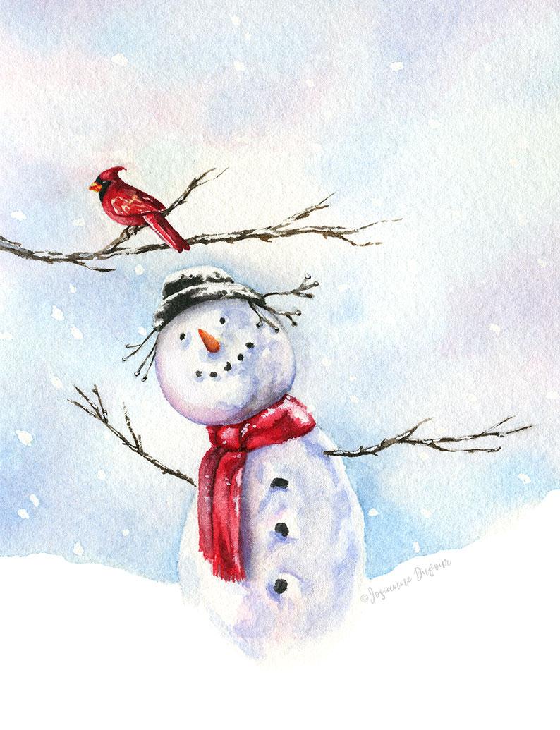 Bonhomme de neige et cardinal
