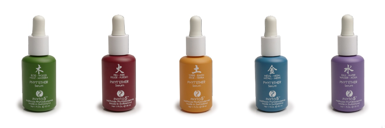 All five Phyt'Ether serums for face, scalp, body and emotions