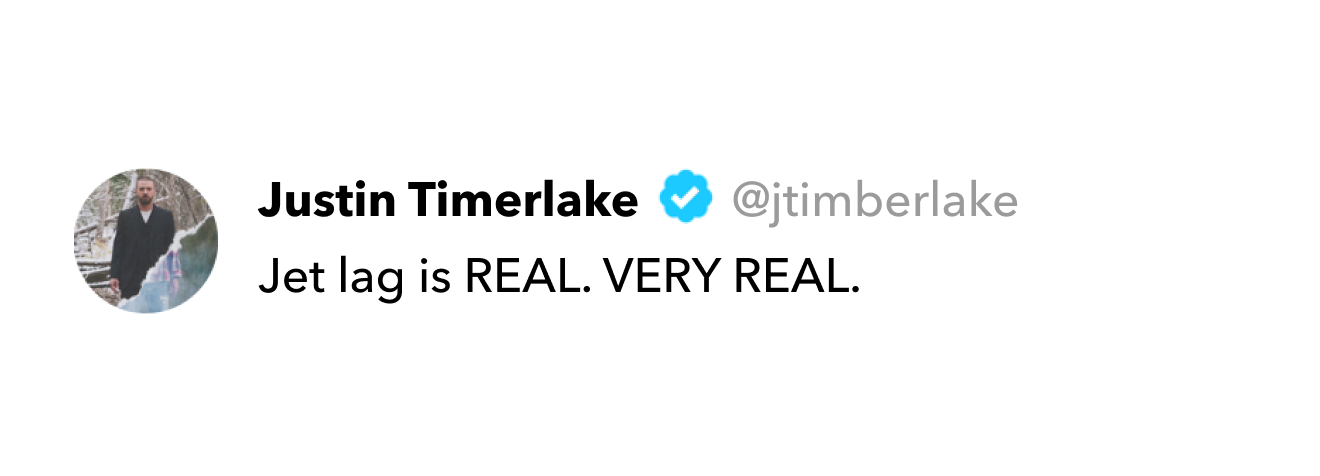 Justin Timberlake tweet on jet lag