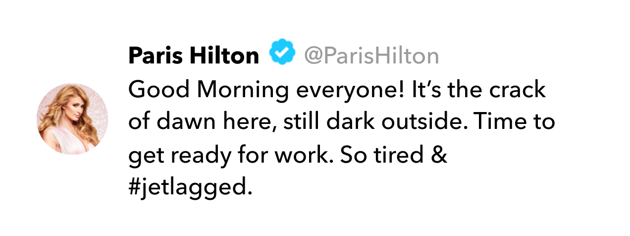 Paris Hilton tweet on jet lag