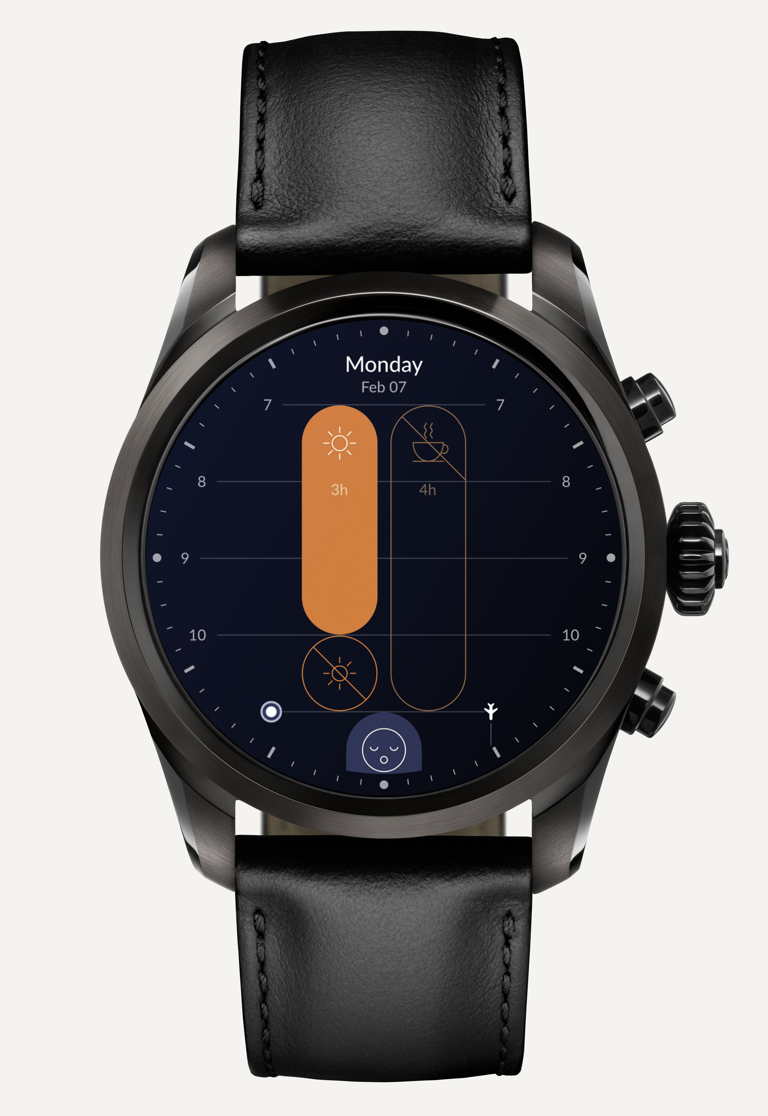 The Timeshifter jet lag app on Montblanc Summit 2 with Wear OS by Google