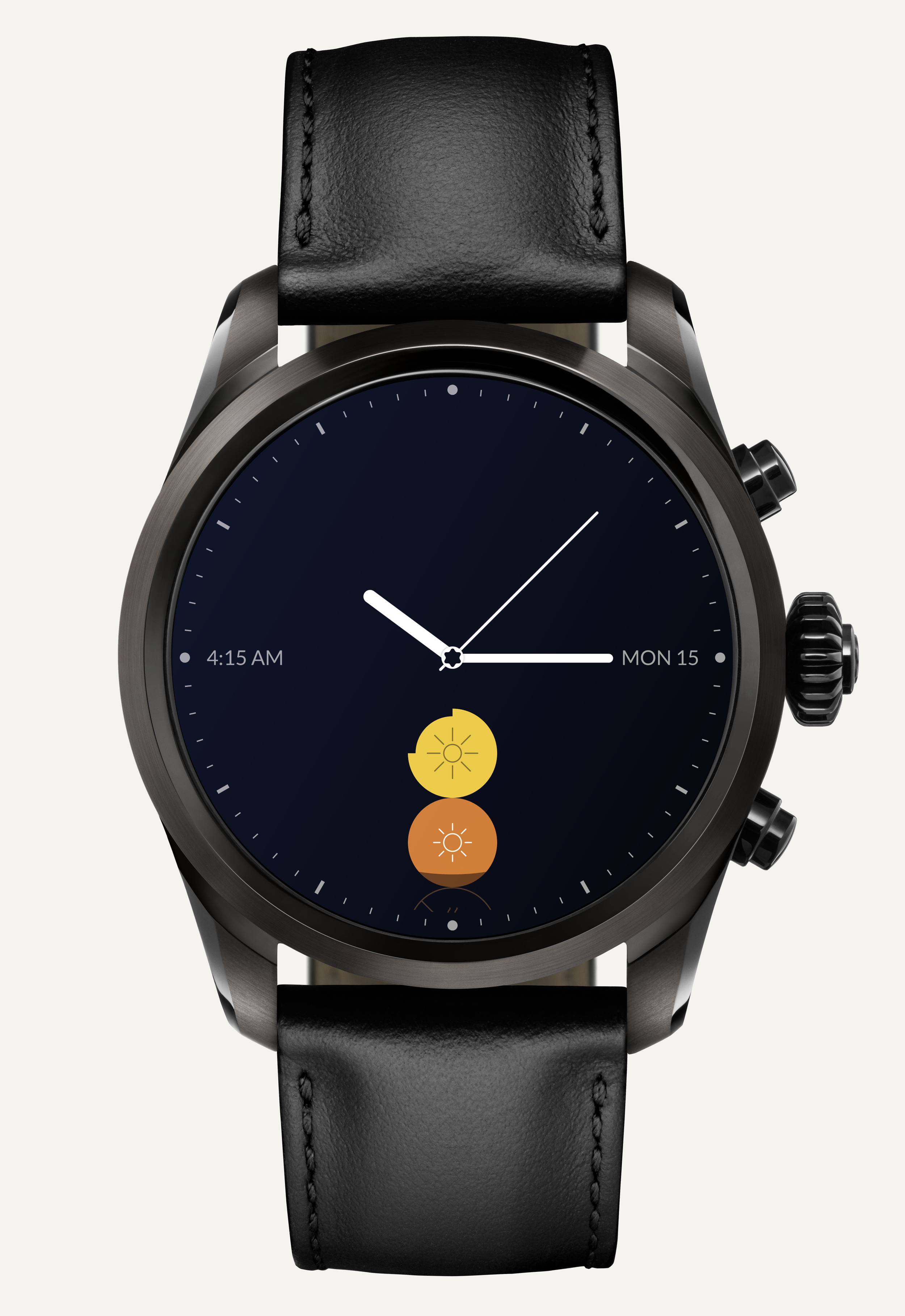 The Timeshifter jet lag watch face on Montblanc Summit 2 with Wear OS by Google