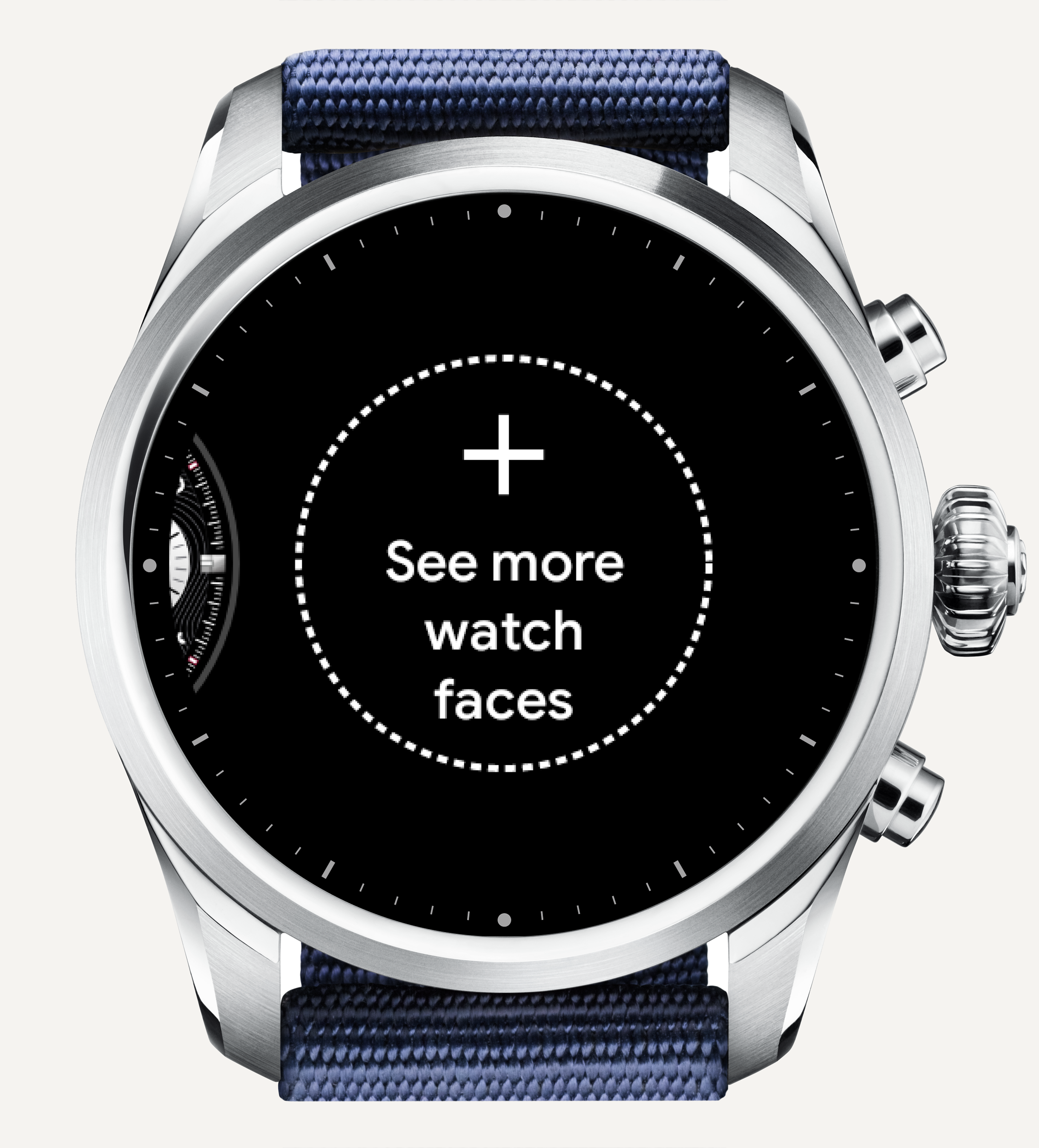 "Scroll all the way to the right and tap ""See more watch faces""."