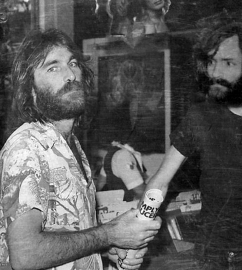 Dennis Wilson (Left) of the Beach Boys and Charles Manson (Right).