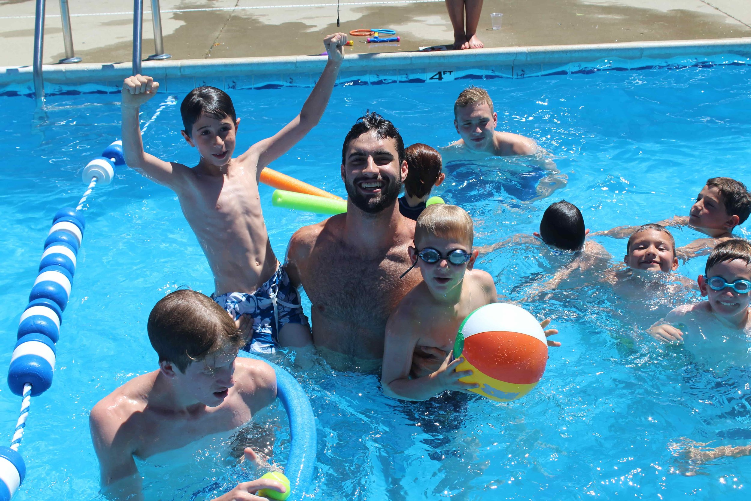 שחייה / Swimming - Campers receive Red Cross swimming instruction from our fabulous lifeguard certified swim staff. Our two heated outdoor pools are surrounded by a high fence and range in depth from 2 feet to 9 feet in one pool and from 3 feet to 5.6 feet in the other pool. Campers have free swim each afternoon. Towels are provided and swimsuits are dried between swims.