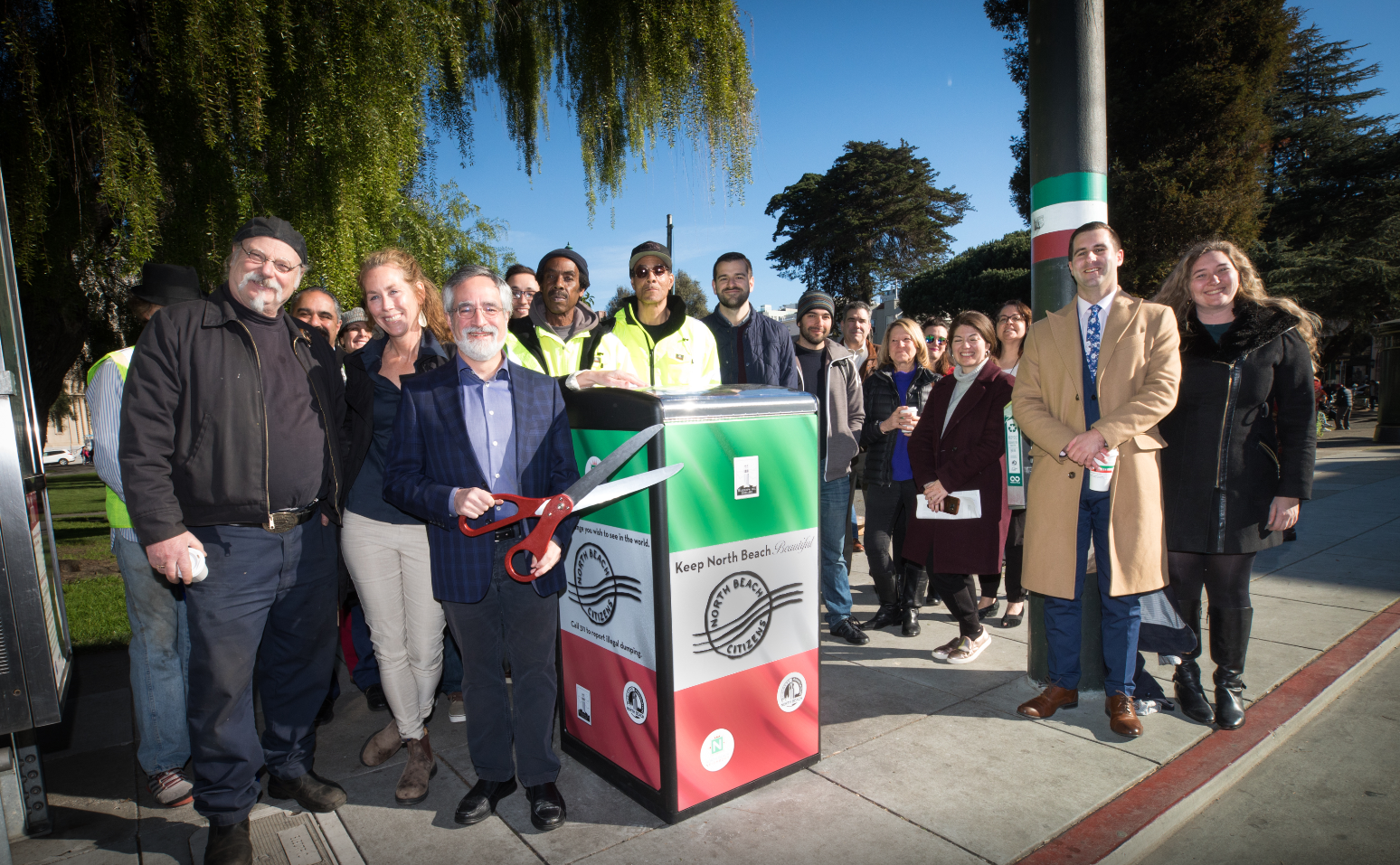 Bigbelly launch event on February 22, 2019 in Washington Square Park with Supervisor Peskin, NBC Executive Director, Kristie Fairchild, and community partners