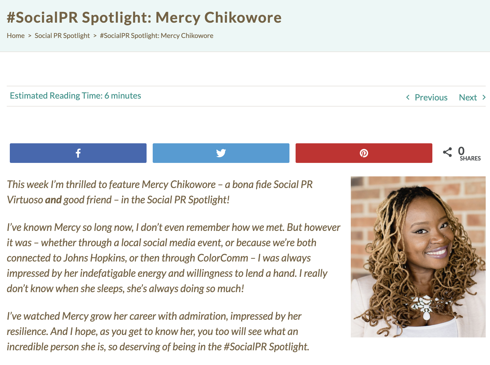 Mercy was featured on Shonali Burke's website for her ability to create community through social media. Read more  here .