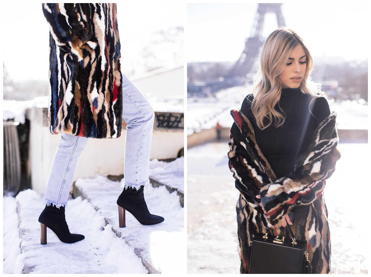 Woke up early to visit Tocadera to take in this beautiful Eiffel view. The haze made this place look even more dreamy!  This fur coat I bought from Zara last winter. The bag is from Mango. Booties from Ego Shoes