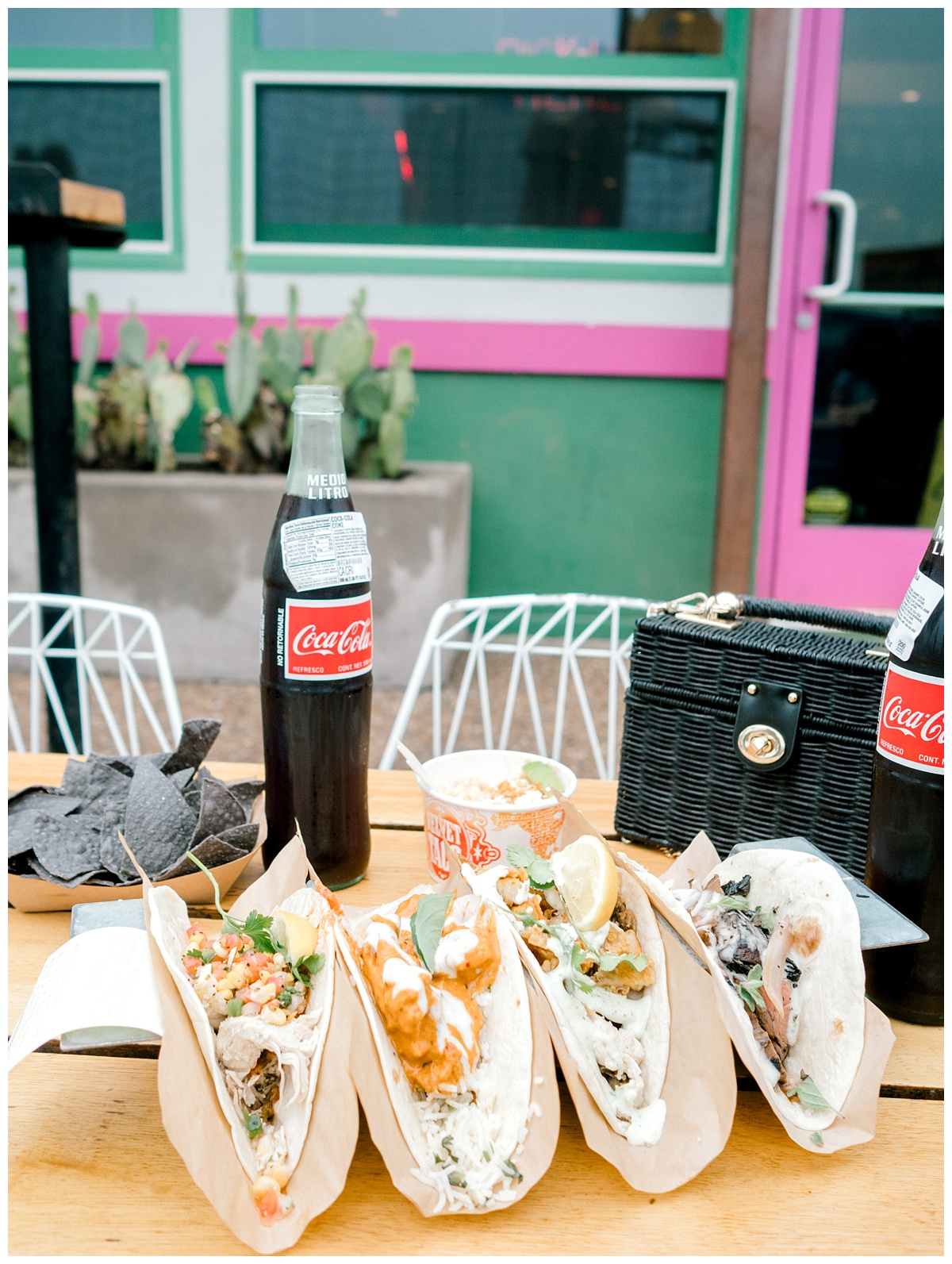 Velvet Tacos -  This place was a small place but cool concept...You stand in line and order then they call your name and you pick up and sit wherever, so kinda like a taco truck type deal. Fast service.We tried the Chicken and steak tacos...also the Chicken Tikka one and it tasted just like actual Tikka (not a flavor I prefer for my tacos though).BUT their CORN DIP is DELICIOUS! That was my favorite thing.