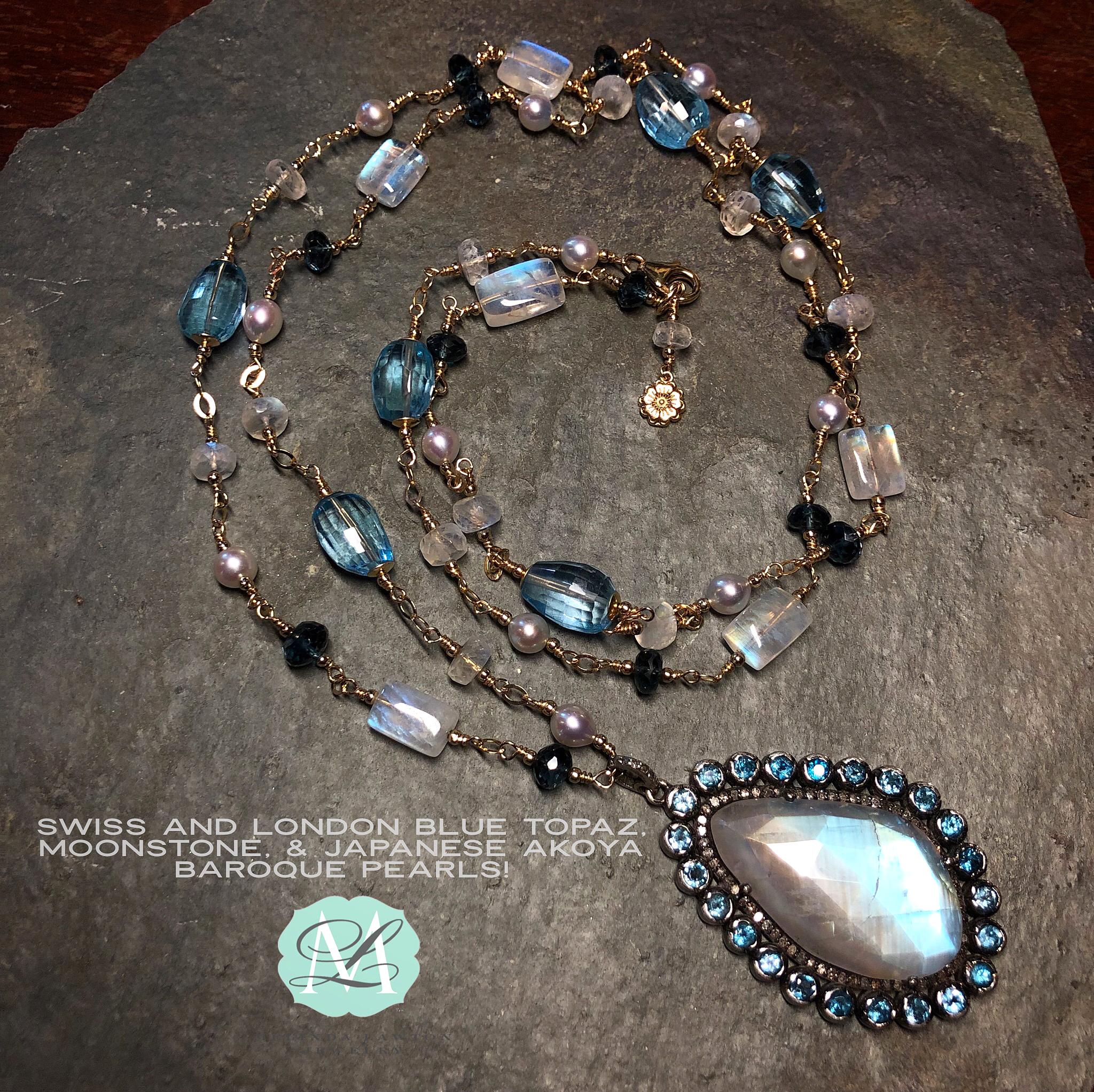 Moonstone Akoya Blue Topaz