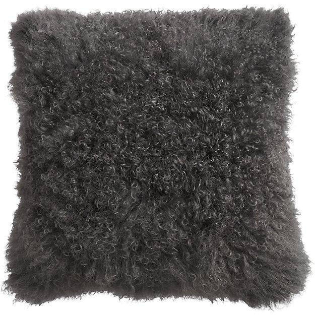 Grey Sheepskin Pillow