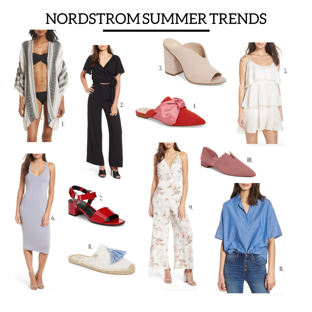 1.  Cover-Up  | 2.  Tie Jumpsuit  | 3.  Slide On Heel  | 4.  Bow Slip Ons  | 5.  Cover-Up Dress  | 6.  Midi Dress  | 7.  Strapped Heel  | 8.  Tassel Slide On  | 9.  Floral Jumpsuit  | 10.  Blush Flats  | 11.  Stripped Button Down  |