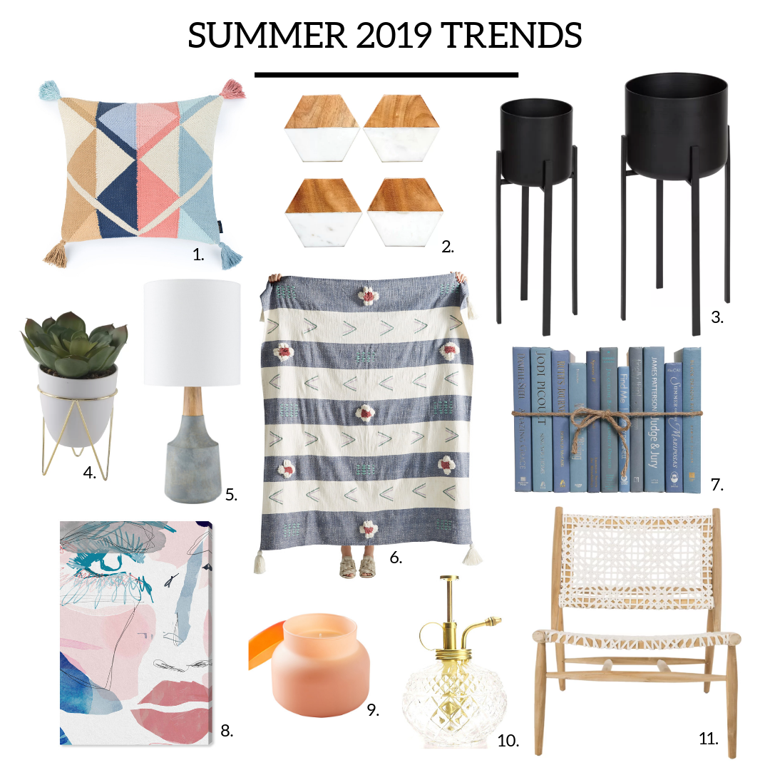 1. Retro Throw Pillow  |  2. Geometric Coaster Set  |  3. Matte Black Planters  |  4. Potted Succulent  |  5. Blue Lamp  |  6. Hand Knotted Throw  |  7. Decorative Books  |  8. Art Piece  |  9. Capri Candle  |  10. Plant Mister  |  11. Albertina Side Chair  |
