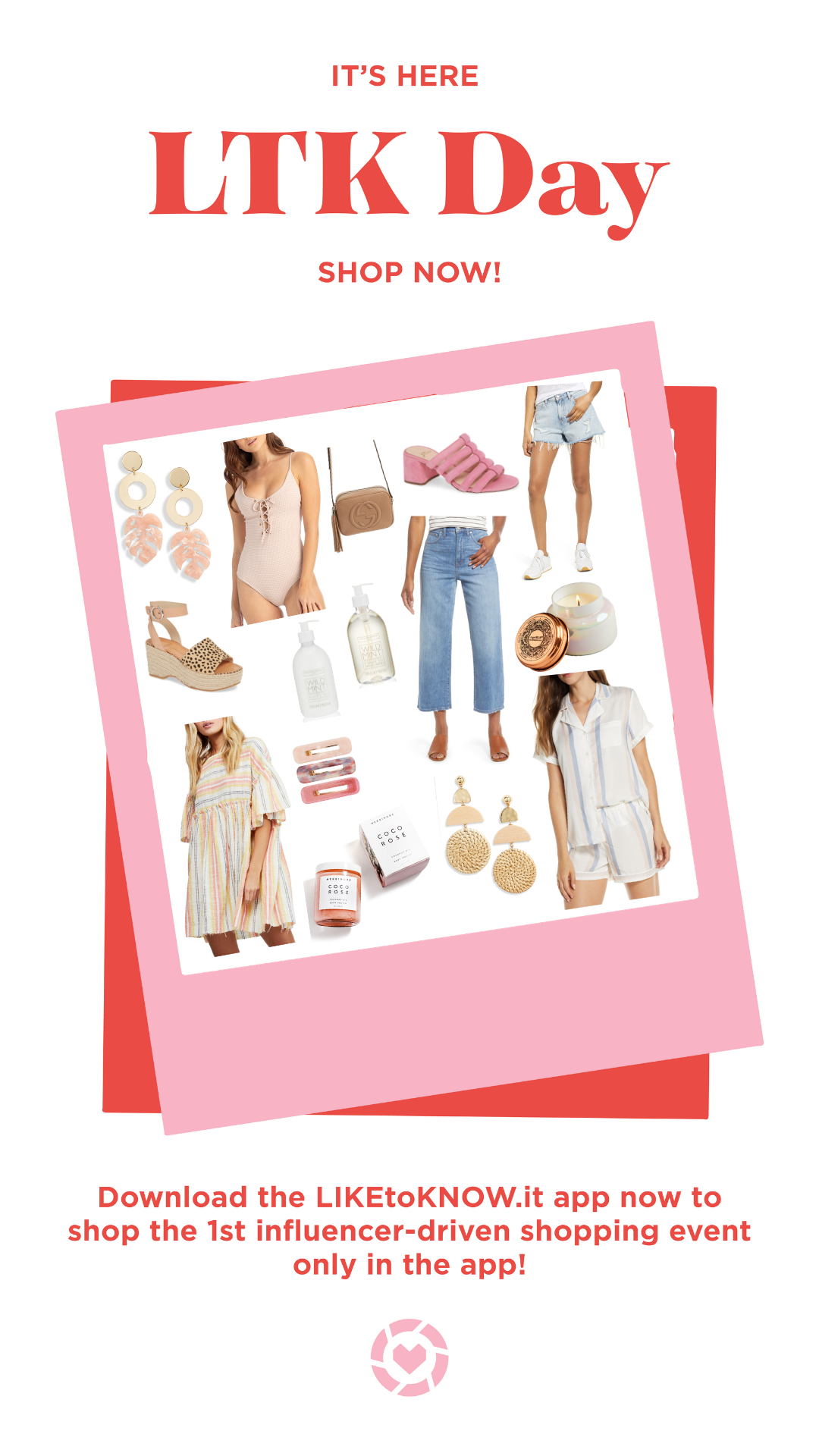 Pink Palm Earrings  |  Nude One-Piece  |  Gucci Cross-body  |  Pink Sandals  |  Blue Jean Boyfriend Shorts  |  Leopard Wedge  |  White Mint Lotion  |  White Mint Soap  |  Wide Leg Denim  |  Capri Candle  |  Striped Dress  |  Hair Clips  |  COCO Rose Scrub  |  Basket-weave Earrings  |  PJ Set  |