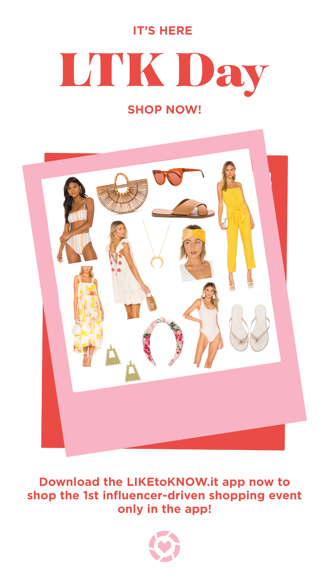 Striped High Waisted Bikini  |  Beaded Wood Bag  |  Red Sunnies  |  Whiskey Slide On Sandals  |  Yellow Jumper  |  Floral Print Tiered Maxi  |  Tie Back Cream Dress  |  Gold Horn Necklace  |  Yellow & Orange Headband  |  Gold Studded Earrings  |  Floral Print Headband  |  Scalloped One-Piece  |  Nude Flip Flops  |